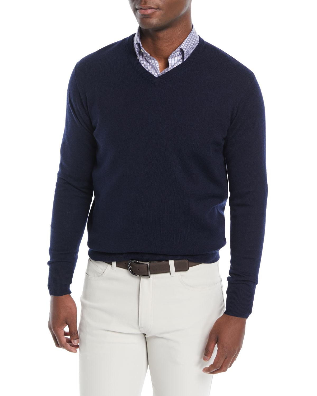 fa3faf9ba Peter Millar Men s Crown Soft Wool Silk V-Neck Sweater