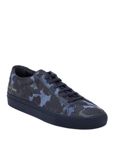 Men's Achilles Camo Suede Low-Top Sneakers  Blue