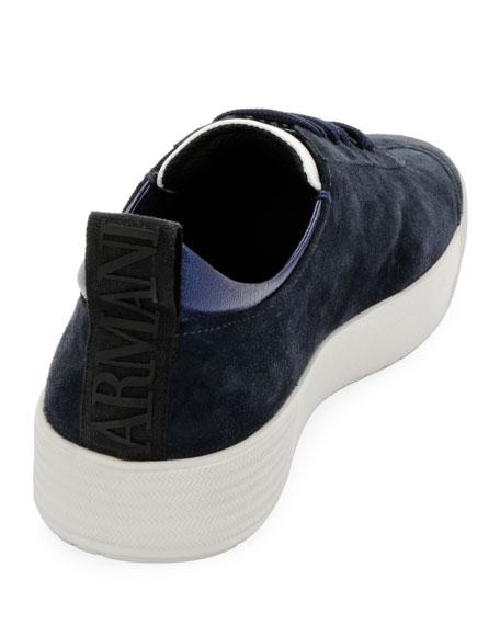 Giorgio Armani Men's Suede Low-Top Sneaker, Navy