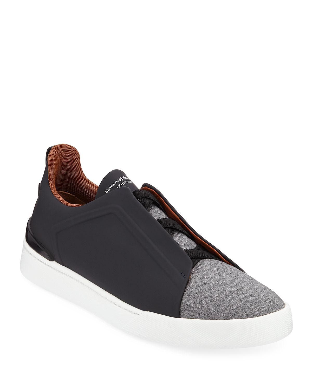 9bd38879ce Men's Triple-Stitch Leather/Wool Low-Top Sneakers