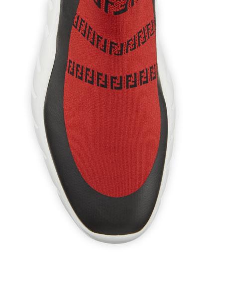 Fendi Men's FF Print Sock Boot Sneakers, Red
