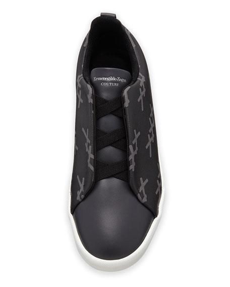 Ermenegildo Zegna Men's Triple-Stitch Leather/Canvas Low-Top Sneakers