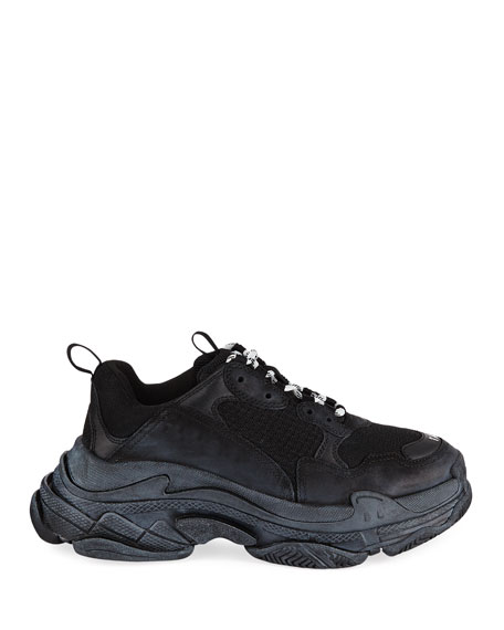 Balenciaga Triple S Men's Tonal Mesh & Leather Sneakers, All Black