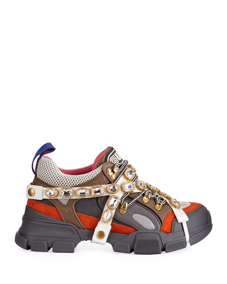 Gucci Men's Leather and Canvas Sneakers with Removable Crystals