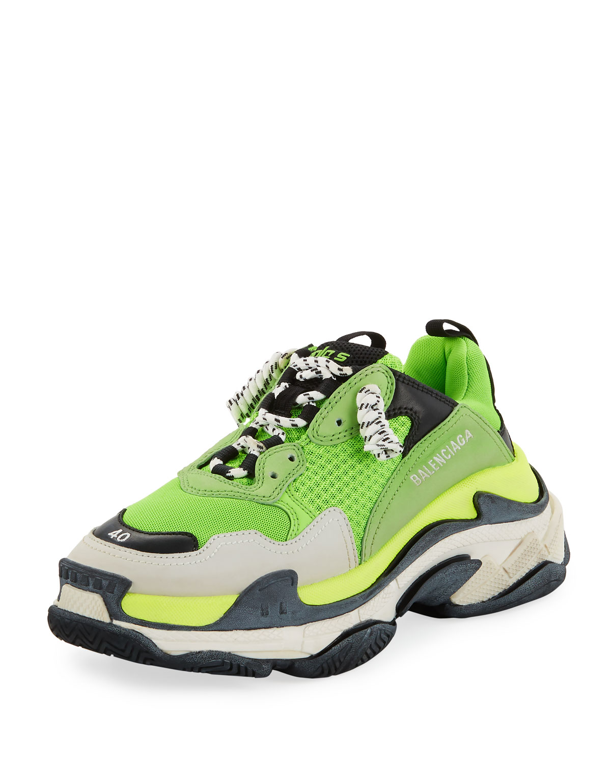 Balenciaga Men S Triple S Mesh Amp Leather Sneakers Green