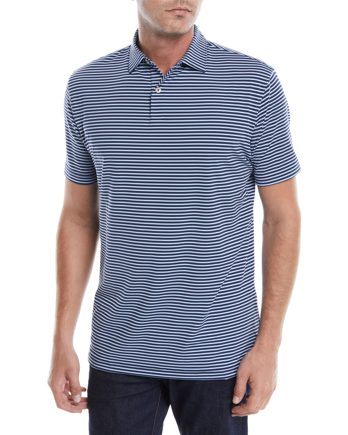 d1dde2d6 Peter Millar Men's Tour-Fit Joyce Stripe Performance Polo Shirt ...