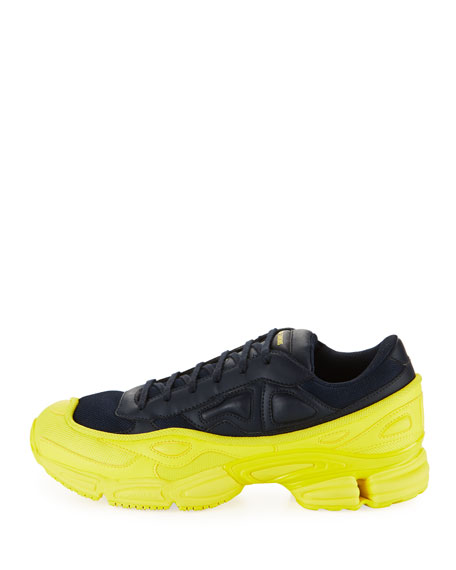 Image 3 of 3: Men's Ozweego Dipped Color Trainer Sneakers, Blue/Yellow