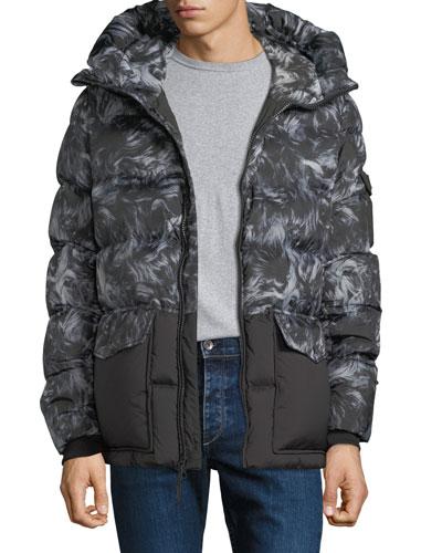 Sierra Sheepskin-Pattern Quilted Puffer Coat