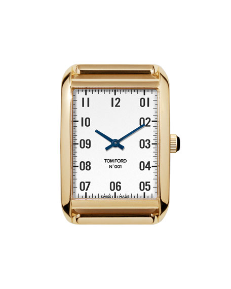 TOM FORD TIMEPIECES 18k Gold Case, White Opaline Dial, Medium