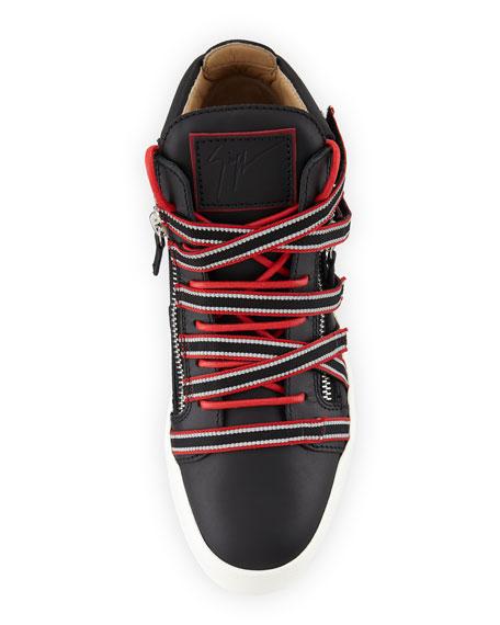Giuseppe Zanotti Men's Multi-Strap with Zipper and Bands Mid-Top Sneaker
