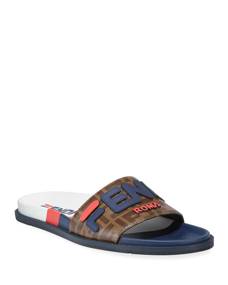 Fendi Men's Fendi Mania Logo-Applique Leather Slide Sandal
