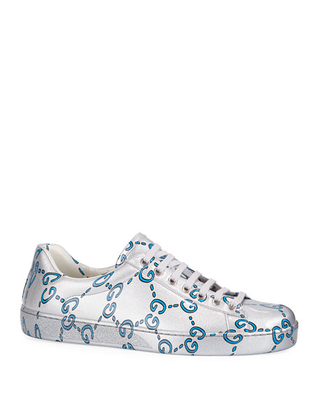 Gucci Men's Ace GG Coated Leather Sneakers