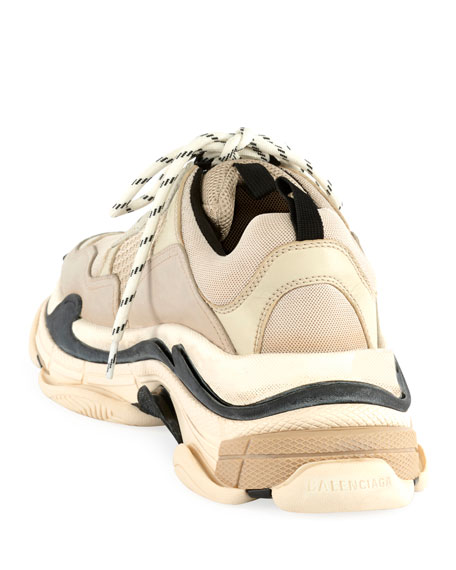 Image 3 of 3: Balenciaga Men's Triple S Mesh & Leather Sneakers