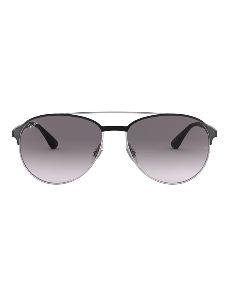 Ray-Ban Men's Round Gradient Metal Aviator Sunglasses