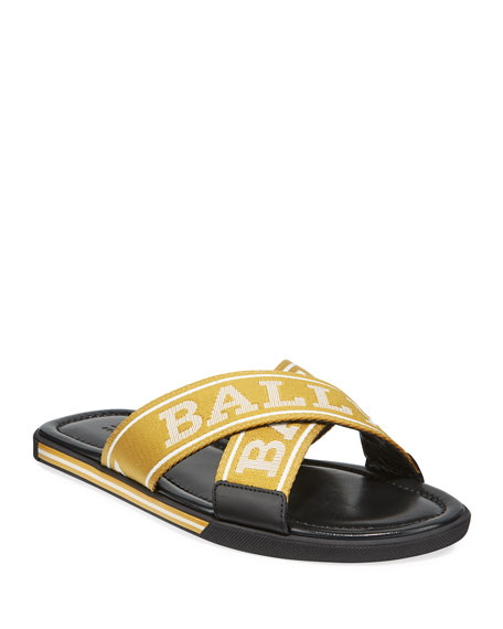 Bally Men's Logo Leather Slide Sandals