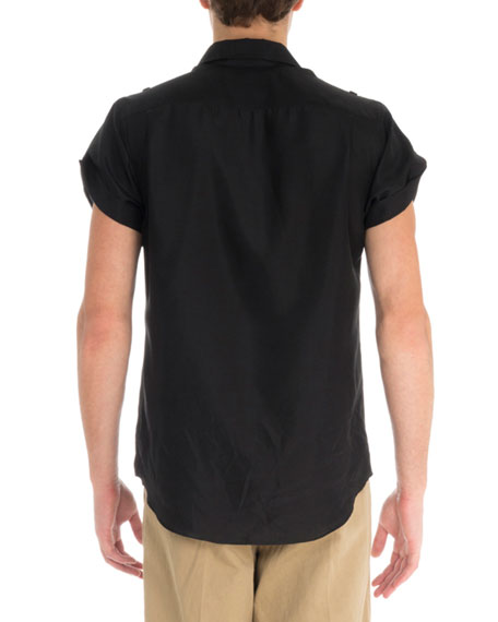 Givenchy Men's S19 Silk Military Sheer Shirt