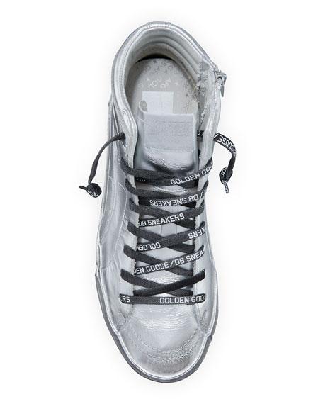 Golden Goose Men's Slide Metallic Leather High-Top Sneakers