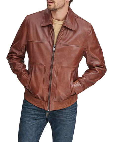 Andrew Marc Jackets Men's Vaughn Zip-Front Leather Jacket