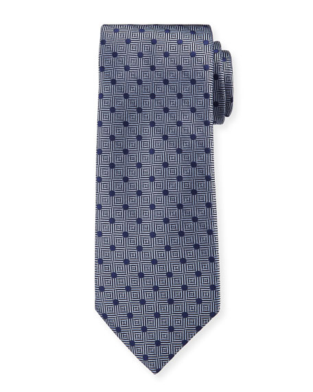 Canali Men's Silk Parquet With Dots Tie