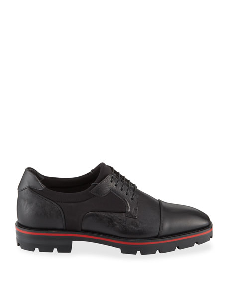 Christian Louboutin Men's Mika Sky Spiked Leather Lace-Up Shoes