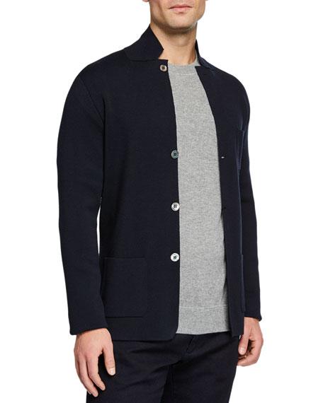 Loro Piana Men's Button-Front Lightweight Virgin Wool Knit Jacket