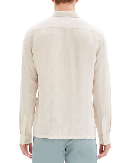 Image 3 of 3: Theory Men's Murray Summer Linen Long-Sleeve Sport Shirt