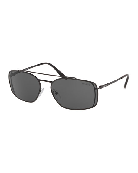 Prada Men's Metal Double-Bridge Rectangle Sunglasses