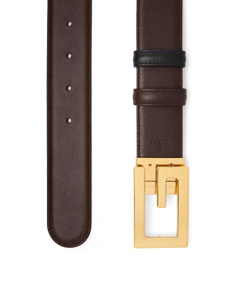 Gucci Men's Retro G Reversible Leather Belt