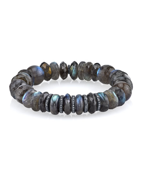 Sheryl Lowe Labradorite Mixed-Bead Bracelet w/ Diamonds