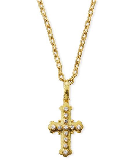 Elizabeth Locke 19k Gold Diamond Byzantine Cross Pendant