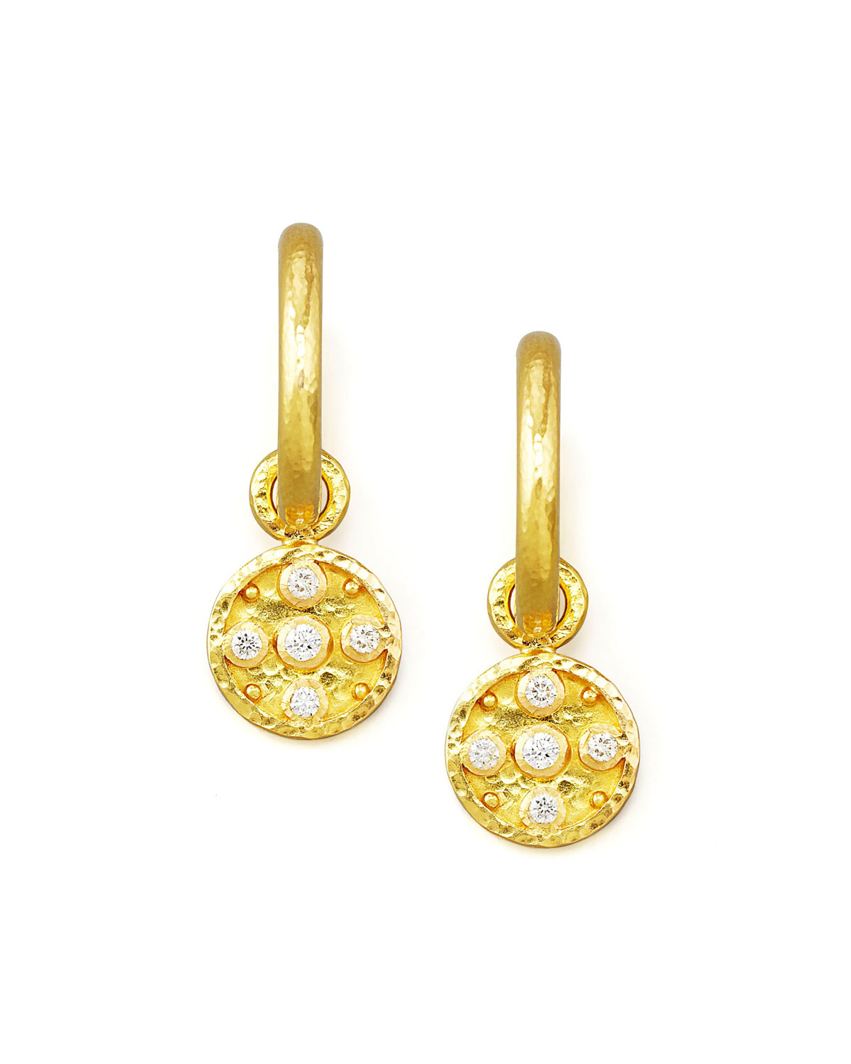 Elizabeth Locke 19k Gold Diamond Disc Earring Pendants qWoPYLC