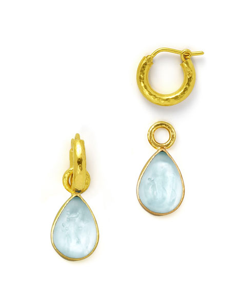 Light Aqua Intaglio Teardrop Earring Pendants