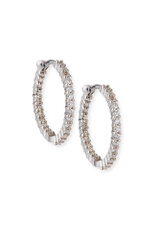 Roberto Coin 22mm White Gold Diamond Huggie Hoop Earrings, 1ct