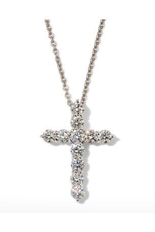 "Roberto Coin 16"" White Gold Lg Diamond Cross Pendant Necklace"