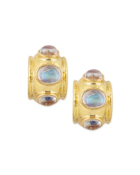 Moonstone Cabochon Clip/Post Earrings
