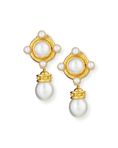 18k Pearl Earrings with Detachable Drop