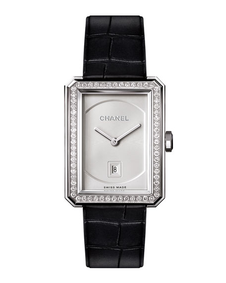 CHANEL BOY·FRIEND 18K White Gold Watch with Diamonds, Medium Size