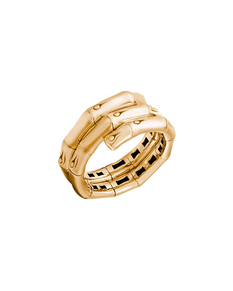 Bamboo 18K Gold Double-Coil Ring, Size 7