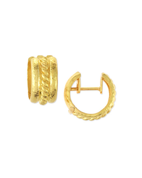 Image 1 of 2: Braided 19K Gold Hoop Earrings