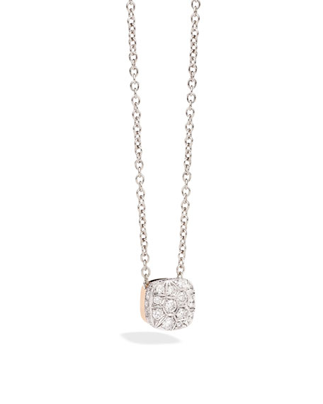 POMELLATO Grande Nudo 18K White & Rose Gold Diamond Pendant Necklace pTTjTs