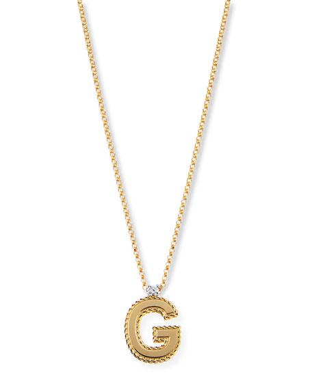 Roberto Coin Princess 18K Yellow Gold Diamond Initial Necklace, G