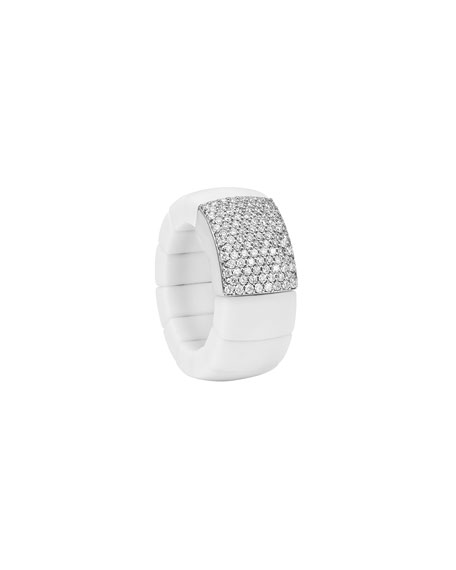 Domino White Ceramic Stretch Ring with Pavé Diamonds