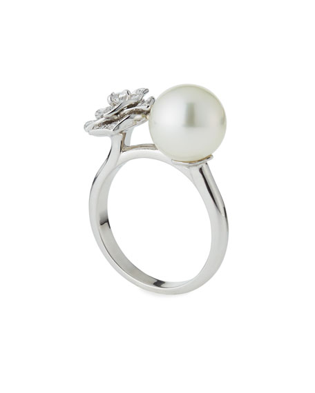 Open Pearl & Diamond Rose Ring, Size 54