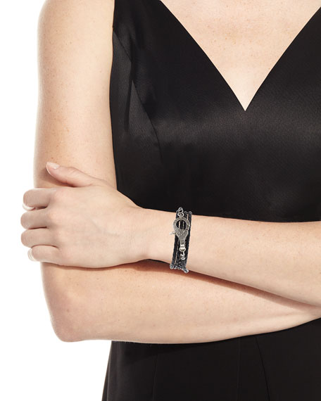 Margo Morrison Woven Leather Wrap Bracelet/Necklace with Diamond Clasp