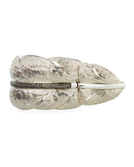 Image 3 of 4: Michael Aram Wide Feather Cuff Bracelet w/ Diamonds