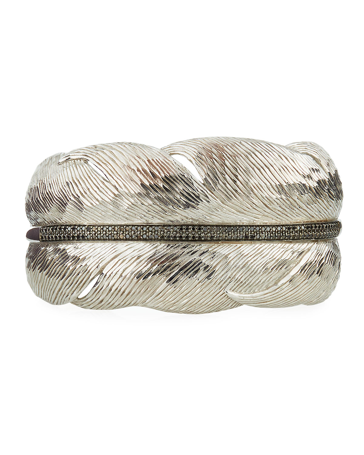 Michael Aram Wide Feather Cuff Bracelet w/ Diamonds