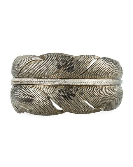 Michael Aram Feather Black Cuff Bracelet w/ Diamonds