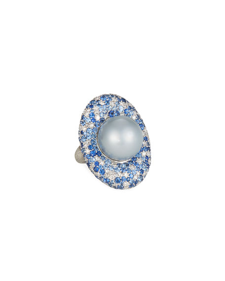 Margot McKinney Jewelry 18k White Gold & South Sea Pearl Cocktail Ring, 16.8mm, Size 6.5