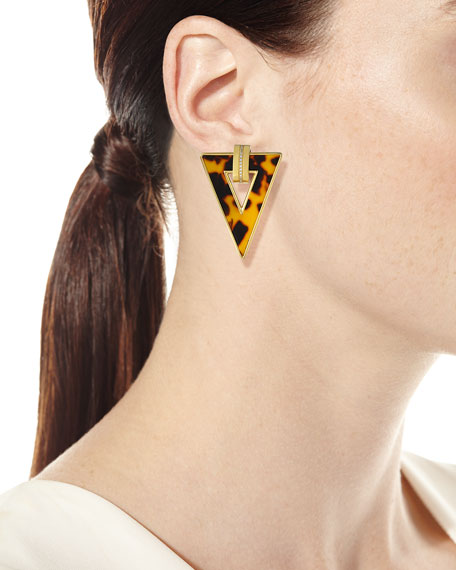 Miseno Limited Edition 18k Animal-Print Triangle Earrings w/ Diamonds
