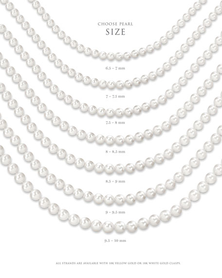 "Assael Akoya 18"" Akoya Cultured Graduated 6.5-9.5mm Pearl Necklace with Yellow Gold Clasp"